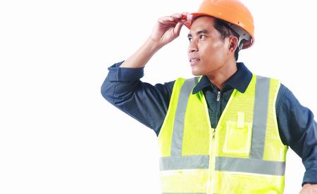 ingeniero civil: Ingeniero civil con chaleco de seguridad aisladas sobre fondo blanco Foto de archivo