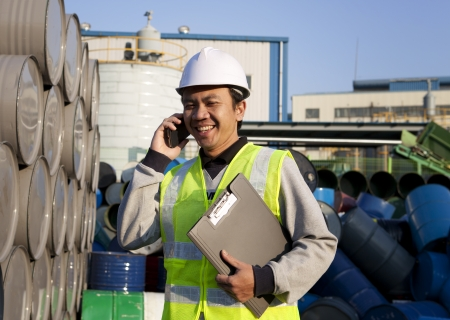 Worker man communication via phone