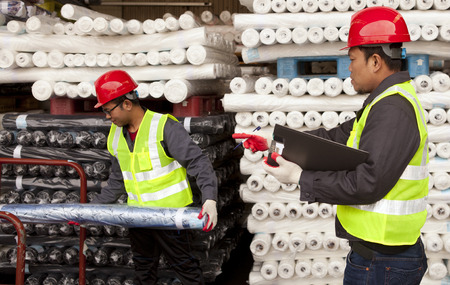 Textile factory workers on working
