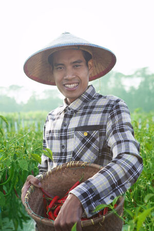 Happy farmers man holding chili peppers
