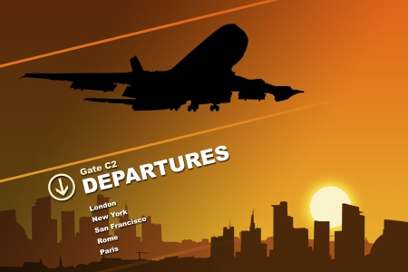 Airport Departures Panel Stock Photo