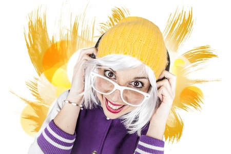 Hipster funny humorous party girl photo