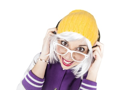 Hipster funny humorous party girl