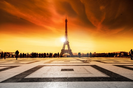 trocadero: Paris Eiffel Tower during sunset Stock Photo