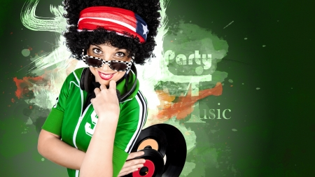 Disco Dj curly girl paint background Stock Photo