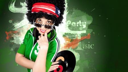 Disco Dj curly girl paint background Standard-Bild