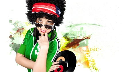 Disco Dj lockiges Mädchen malen Hintergrund Standard-Bild