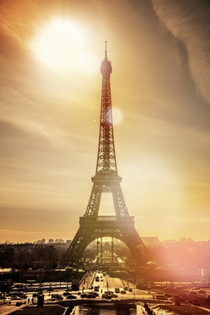 Paris eiffel tower during sunset Stock Photo