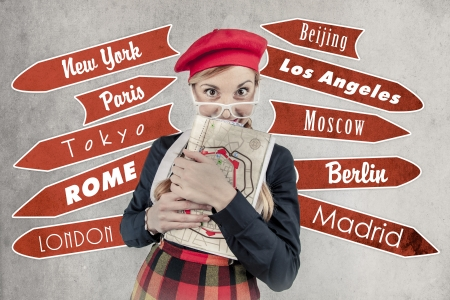 Funny tourist with a red hat vintage style Stock Photo