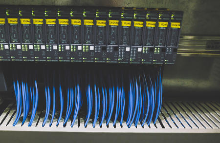 Colorful Wires PLC Cable in Control Panel System Archivio Fotografico