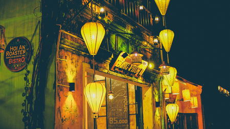 Colorful lanterns at the market street of Hoi An Ancient Town Vietnam