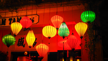 street lamp: Colorful lanterns at the market street of Hoi An Ancient Town,  Vietnam