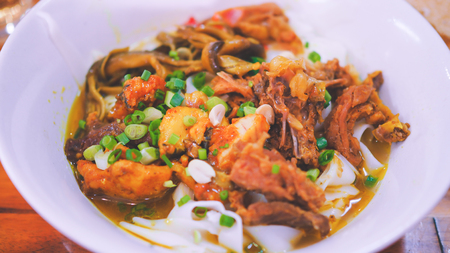 Mi Quang - Vietnamese Traditional Rice Noodles in Da nang, Vietnam Stok Fotoğraf
