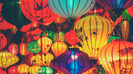 Colorful lanterns at the market street of Hoi An Ancient Town, UNESCO World Heritage Site. Vietnam Stok Fotoğraf