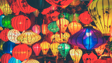 Colorful lanterns at the market street of Hoi An Ancient Town, Vietnam