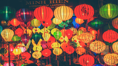 Colorful lanterns at the market street of Hoi An Ancient Town, UNESCO World Heritage Site. Vietnam Editorial