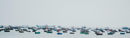 A harbor with boats in Da Nang city, Vietnam Stok Fotoğraf