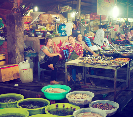 Vietnamese Traditional Seafood Market in Can Gio, Vietnam Editöryel