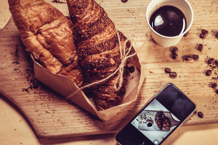 Bread Slices and Black Coffee
