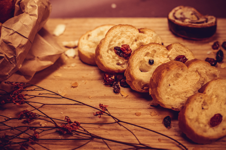 Bread Slices with Dry Grapes Stok Fotoğraf