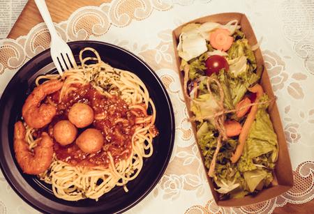 Meatballs and Spaghetti Stok Fotoğraf