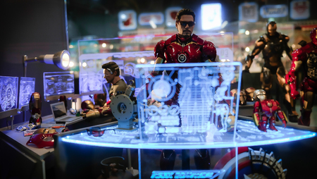 SAIGON / VIETNAM, 13 FEBRUARY 2018 - Iron man in the window of a toy shop Editorial