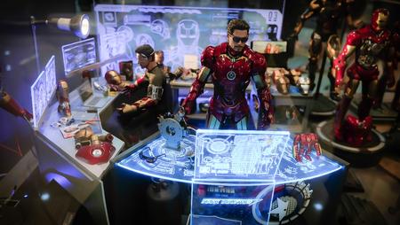 SAIGON  VIETNAM, 13 FEBRUARY 2018 - Iron man in the window of a toy shop Editöryel
