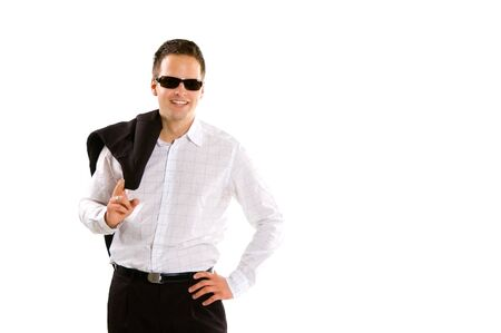 Young business man isolated on white photo