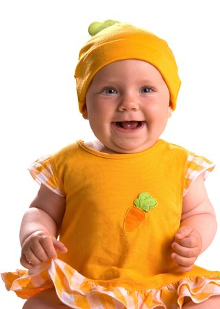 Cute Smiling Baby with an Orange Hat Isolated on White photo