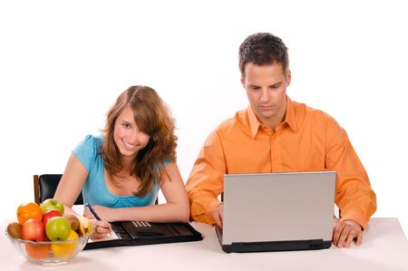 Beautiful Couple are haveing Fun With Laptop. Stock Photo - 3002247