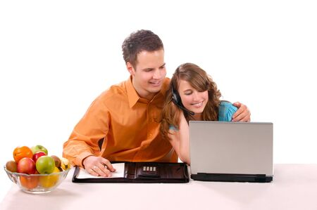 Beautiful Couple are haveing Fun With Laptop. Stock Photo - 3002203