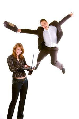 Happy Woman and Juping Man photo