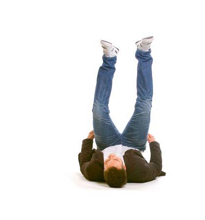 man in jeans: Hard landing