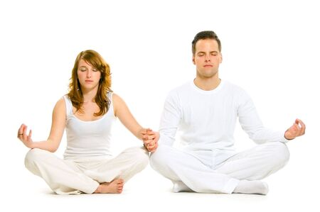 Man and woman are having leisure exercise photo