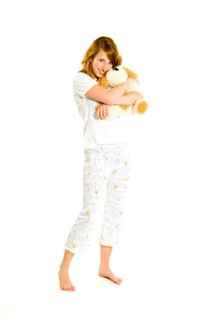 expressing: Pretty girl with puppy Stock Photo