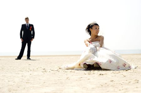 human photography: Bride and groom on Silver beach - China