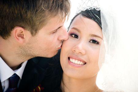 wedding ceremony: Happy Bride and Groom Stock Photo