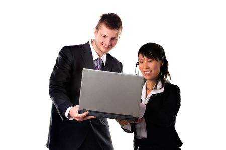 Happy businessman and businesswoman with laptop photo