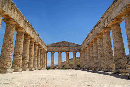 Summer sky in the Greek temple in Segesta (Sicily, Italy). UNESCO World heritage site. photo