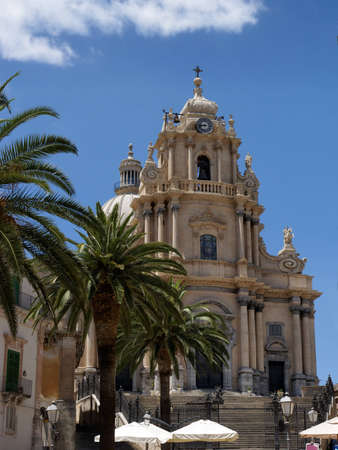 ragusa: Saint George Cathedral in Ragusa Ibla, a baroque town in Sicily (Italy). UNESCO world heritage site.