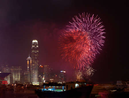 Fireworks in Hong Kong for 60th anniversary of Chinese national day (01 oct 2009) photo