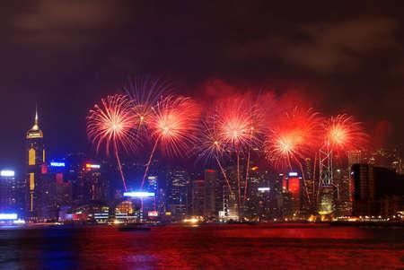 hong kong night: HONG KONG 01 OCT 2010 - Fireworks for celebration of  Chinese national day at the Victoria Harbor on Oct 01 2010 in Hong Kong China