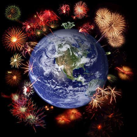 hemisphere: Fireworks around Earth - West hemisphere, celebration concept  Stock Photo