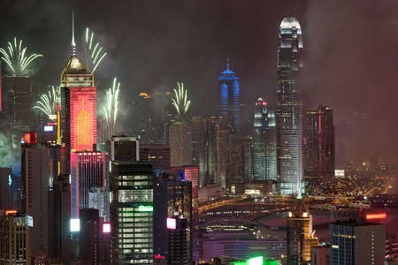 Fireworks in Hong Kong reunification day 1st july 2012 photo