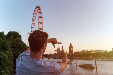 London eye, westminster, Thames as background. picture from back