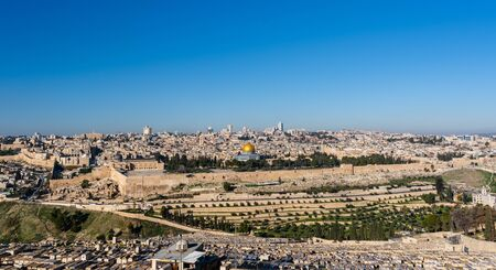Old City of Jerusalem, Israel, from the mount of olives