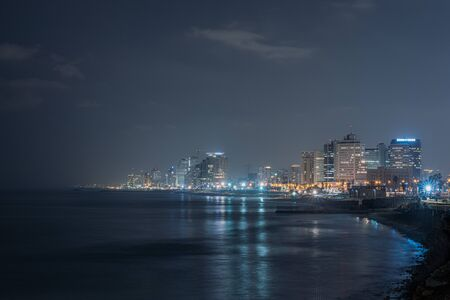 picture of Tel aviv city in the night from from the beach