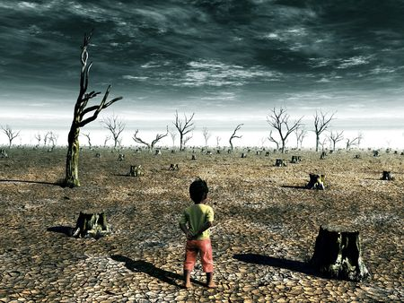 warming: A global warming illustration with a girl facing a dead forest field. Stock Photo