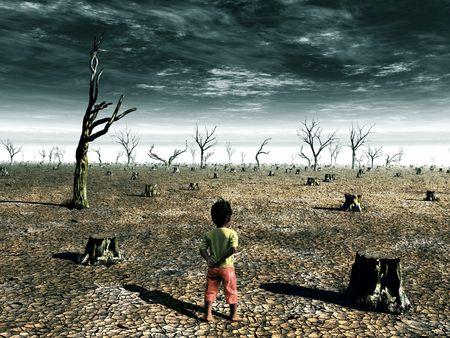 Un calentamiento de la Tierra ilustración con una niña frente a un bosque muerto sobre el terreno.