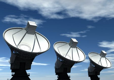 gprs: Three satellite dish with sky background Stock Photo